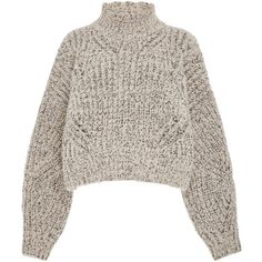 Isabel Marant Farren Open Mock Neck Wool-Blend Sweater ($715) ❤ liked on Polyvore featuring tops, sweaters, grey, gray sweater, chunky sweater, grey crop top, chunky cropped sweater and grey sweater