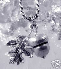 3D Squirrel favorite food Acorn leaf pendant charm Sterling Silver .925 Jewelry