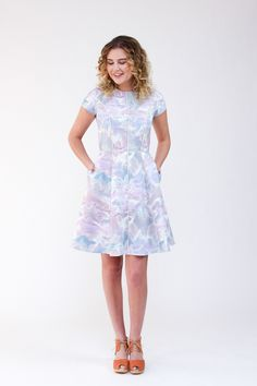 Multi paneled dress with distinctive style lines and close fit. Pattern features princess seams, flared skirt, anchored side seam pockets, short sleeves, centre back invisible zipper and a full lining.  Able to be made from one or more fabrics for a striking effect.