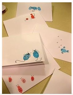 Ms. Teacher Appreciation Gift:  Make finger print note cards with Teach Mama's tutorial.