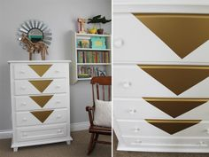 gold decal on dresser