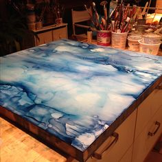 30x30 in progress #alcoholinks #blue #abstraction by Andrea Pramuk http://www.andreapramuk.com