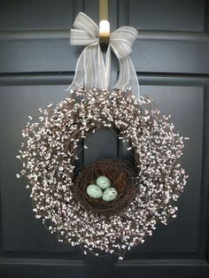 I love the idea of this Adorable Spring Wreath. This is a place where you can buy one. But, I would love to make a wreath like this & maybe add some realistic birds to finish it. Just a thought!