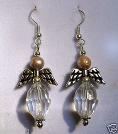 GENUINE FRESH WATER PEARL & CZEC GLASS CHRISTMAS ANGEL EARRINGS  $13.99