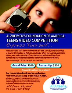 AFA Teens Video Competition. Deadline Dec. 1