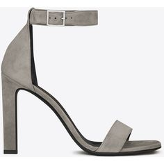 Saint Laurent Grace 105 Ankle Strap Sandal ($685) ❤ liked on Polyvore featuring shoes, sandals, heels, high heel shoes, ankle wrap shoes, ankle strap heel sandals, heeled sandals and ankle tie sandals