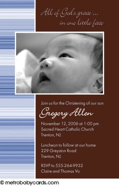 Photo Baptism/Christening Invitations :: Faith Blue Design