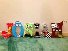 Cars themed letters made by Candied Confections can order on our etsy shop Painted Initials, Painted Letters, Wooden Letters, Wooden Names, Disney Cars Room, Toy Story Bedroom, Disney Letters, Character Letters, Second Birthday Ideas