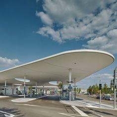 Shell-like roofs provide shelter at Pforzheim Central Bus Station