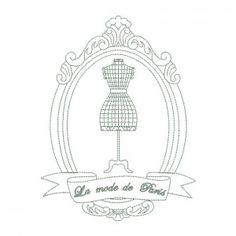 Motif de broderie machine cadre ovale vintage mannequin de couture Mode de Paris