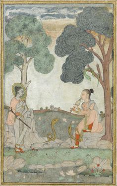 An illustration from a ragamala series: Asavari Ragini - snake charmer. Hyderabad, 1760-1770