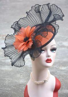Panba Fascinator Hat for Women Sinamay Bridal Cocktail Feather Mesh Net Veil Kentucky Derby