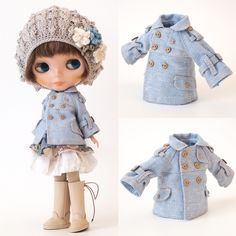 mahounote.の画像|エキサイトブログ (blog) Sewing Doll Clothes, Crochet Doll Clothes, Sewing Dolls, Knitted Dolls, Doll Clothes Patterns, Barbie Clothes, Knitted Hats, Doll Closet, Kawaii Doll