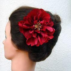 #promhair #prom #hairstyles #redflower #redflowerhairstyles #hair #updos #flowerclip #flowerhair #updo