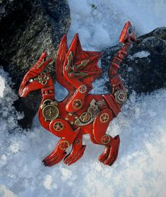 Steampunk Hair Clip Red Dragon. Handmade Jewelry Steampunk Dragon