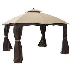 allen + roth Gazebo 12-ft W x 10-ft L Rectangular Beige/Brown Steel Standard Canopy with Insect Screen