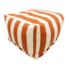 Brielle Indoor/Outdoor Beanbag Ottoman in Burnt Orange