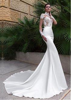 Wonderful Tulle & Satin Illusion High Neckline Mermaid Wedding Dresses With…