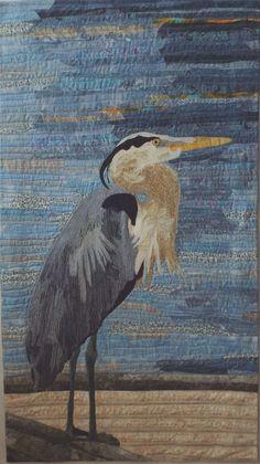 Blue Heron by Molly Samuels (South Carolina, USA)   SAQA Bird Applique, Applique Quilt Patterns, Landscape Art Quilts, Landscapes, Batik Art, Bird Quilt, Animal Quilts, Thread Painting, Blue Heron