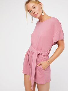 Easy Street Wrapped One Piece   So cute and comfy cotton one piece featuring a crossed back design with a wraparound adjustable tie detail.    * Elastic at the waist for a comfortable fit