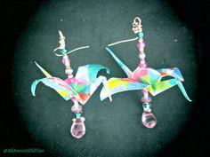 Origami Crane Beaded Earrings, by AmrcnWldFlwrDesigns on Etsy, $25.00