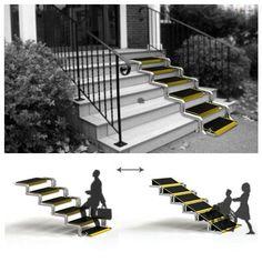 Steps That Convert Into A Wheelchair Ramp. Cool!