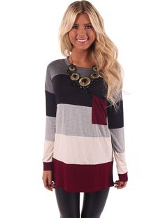 Lime Lush Boutique - Wine Long Sleeve Color Block Top with Pocket, $44.99 (http://www.limelush.com/wine-long-sleeve-color-block-top-with-pocket/)