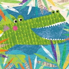 """Peeking Jungle Buddies - Crocodile"" Animal Canvas Art for Kids by Liza Lewis for Oopsy Daisy 14x14 $69 and 30x30 $189 (Presidents Day Sale, save 20% thru 2/19)"