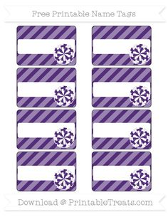Free Royal Purple Diagonal Striped  Cheer Pom Pom Name Tags