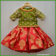 Kids lehenga with Rich hand embroidery designs by Angalakruthi boutique Bangalore Kids Dress Wear, Dresses Kids Girl, Kids Wear, Kids Outfits, Baby Dresses, Kids Gown, Smocked Dresses, Kids Frocks Design, Baby Frocks Designs