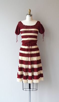 Vintage 1950s dark cranberry crochet and cream lace dress with drawstring tie collar, sleeves and waist, semi-full skirt and metal back zipper. A slip