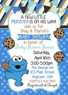Cookie Monster Polka Dots and Stripes Baby Shower Invitation Cookie Monster Baby Shower Invitation Monster Birthday Invitations, Monster Birthday Parties, Baby Shower Gift Bags, Baby Shower Cookies, Invitaciones Baby Shower Niña, Baby Shower Invitations, Baby Shower Themes, Baby Boy Shower, Shower Ideas