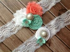 Coral Pink and Tiffany blue  fabric flowers