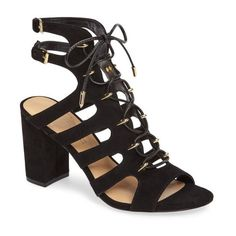 Women's Daya By Zendaya Miles Ghillie Gladiator Sandal ($100) ❤ liked on Polyvore featuring shoes, sandals, black microsuede, caged sandals, greek sandals, roman gladiator sandals, gladiator sandals shoes and tall gladiator sandals