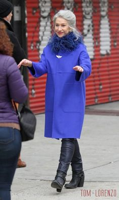 "Helen Mirren spotted on the set of ""Collateral Beauty"" in New York City."