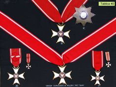 Poland - 1944 Order of Polonia Restituta: (3 & 4) 2nd Class Commander's Cross with star, (5) 3rd Class Commander's Cross, (6) 4th Class Officer's Cross, (7) 5th Class Knight's Cross.