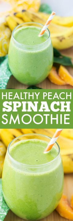 This green, healthy, delicious Peach Spinach Smoothie is going to be your new favorite drink. You get all the sweetness of the peaches and banana along with the nutrients from the spinach (without that spinach taste). It's so good!