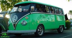 Photo of a green & black Volkswagen Type 2 Transporter Van at the Scottsdale Pavilions Classic Car Show in Arizona. Volkswagen Transporter, Vw T1, Volkswagen Bus Interior, Volkswagen Bus Camper, Volkswagen Beetles, Camper Van, Wolkswagen Van, Combi Ww, Vw Caravan