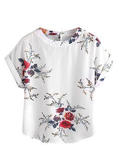 SheIn Women's Print Curved Hem Cuffed Short Sleeve Blouse Top Small White##
