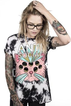 ANTI-SOCIAL KITTY CUSTOM TIE DYE TEE
