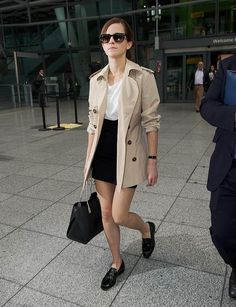 Emma Watson, heathrow, airport, style, fashion, oscars, legs, figure, loafers