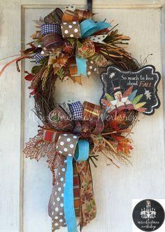 fall wreath turkey thanksgiving wreath grapevine wreath