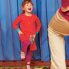 """Pop Like Popcorn  You're the microwave; your child is the popcorn. When you clap your hands (""""pop""""), your child has to jump like a hot kernel of corn. Just like popcorn in a microwave, the pops start slowly, get faster and faster, and then slow down again. In addition to honing gross motor skills, this game teaches little ones how to wind themselves down, a skill any parent can appreciate."""