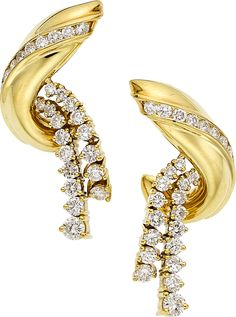 Diamond, Gold Earrings, Jose Hess. The earrings feature full-cut | LotID #32005 | Heritage Auctions