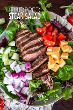 Jan 2020 - Chopped steak salad is a filling, healthy and delicious recipe to throw together! Use fresh or leftover steak for an easy-to-make and quick meal. Salad Recipes For Dinner, Dinner Salads, Healthy Salad Recipes, Healthy Delicious Recipes, Dinner Menu, Steak Salad Dressing, Beef Salad, Salad With Steak, Ham Salad