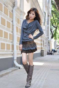 Sweet Boat Neck Solid Color Splicing Design Openwork Long Sleeve Cotton Blend Dress For Women
