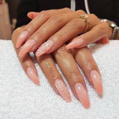 28 pretty mismatched nail art design - Ombre coral and glitter nails,Glitter Ombre nail art , nail design ideas  #nailart #nails #nail