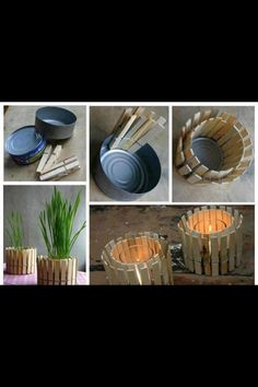 Recycled can with close pins to make a traditional flower pot.