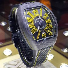 Liking this yellow and black, Franck Muller Vanguard Carbon- Sincere Fine Watches edition. Limited to 28 pieces only.