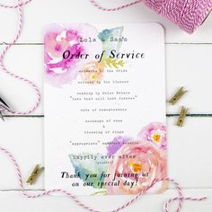 This Wedding Order of Service by Nina Thomas features a pretty pink watercolour floral design that would make a lovely addition to a Summer Wedding.This will then be sent to you within 2 days of ordering by 2nd Class postage. Unfortunately, samples cannot be personalised with your details, but they are a great way to check the quality and craftsmanship before placing a more substantial order. --READY TO PLACE AN ORDER?-- **** There is a strict minimum order quantity of 30 for all custom…